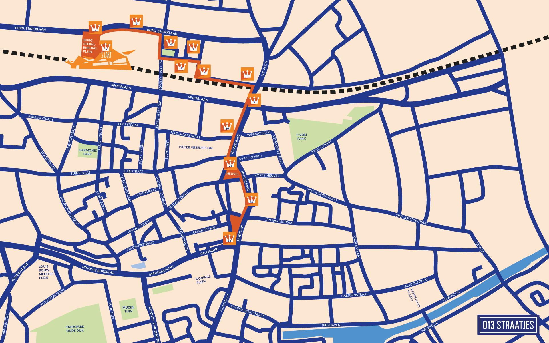 route koningsdag tilburg 2017 - routekaart - 013 straatjes